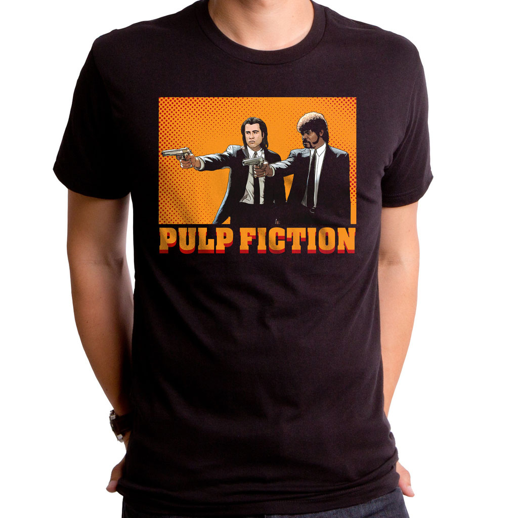 Pulp Fiction- Comic on a black ringspun cotton shirt by Goodie Two Sleeves