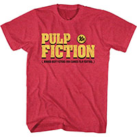 Pulp Fiction- Logo on a cherry heather ringspun cotton shirt by Goodie Two Sleeves