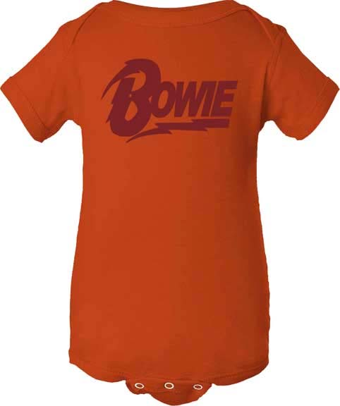 David Bowie- Logo on an orange onesie (S- 0-6m, M- 6-12m, L- 12-18m, XL- 18-24m)