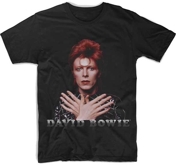 David Bowie- Cross Arm Ziggy 1973 on a black ringspun cotton shirt