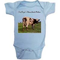 Pink Floyd- Atom Heart Mother on a light blue onesie