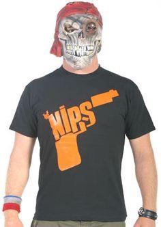 Nips- Gun Logo (Orange) on a black YOUTH sized shirt