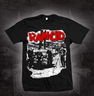 Rancid- Band Pic on front, Tour Dates on back on a black shirt (Sale price!)