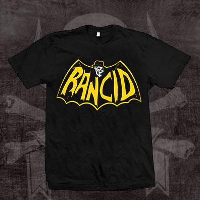Rancid- Skull Bat on a black shirt