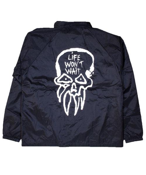 Rancid- Logo on front, Life Won't Wait on back on a Black Nylon Jacket