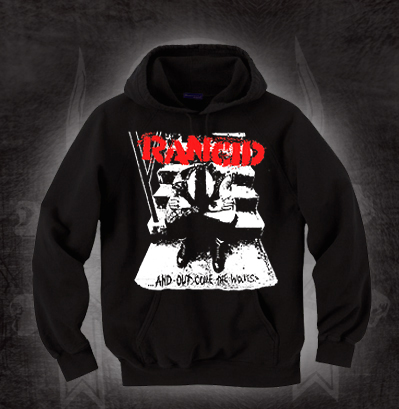 Rancid- And Out Come The Wolves on a black hooded sweatshirt