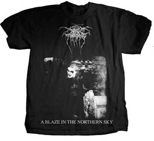 Darkthrone- A Blaze In The Northern Sky on front, Logo on back on a black shirt