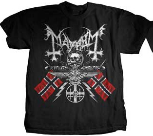 Mayhem- 25 Years Crest on front, 1984-2009 on back on a black shirt