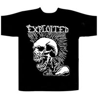 Exploited- Screaming Skull on front, Total Chaos on back on a black shirt