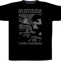 Marduk- Frontshwein Bottle on front & back on a black shirt