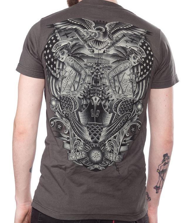 Refuge guys natuical slim fit shirt by Black Market Art Company - artist Tyler Bredeweg - SALE
