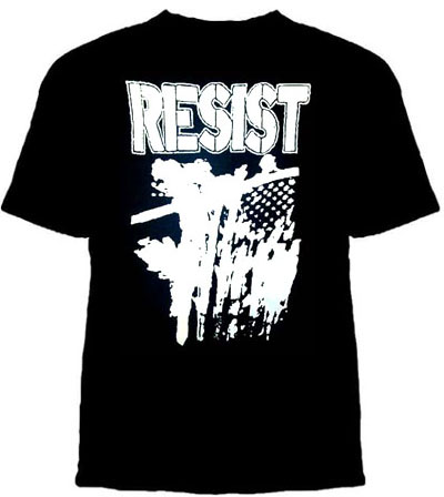 Resist- Burning Flag on a black YOUTH SIZED shirt (Sale price!)