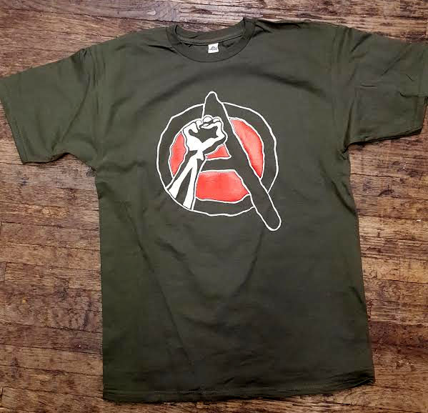 Anarchy (Revolutionary Fist) on an army green shirt