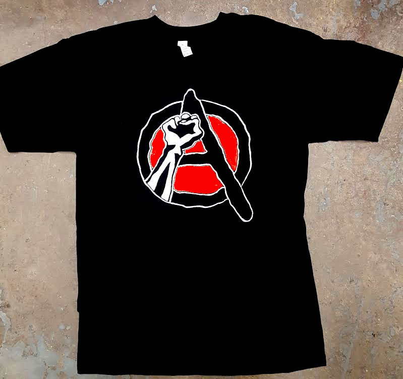 Anarchy (Revolutionary Fist) on a black shirt