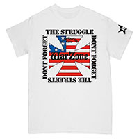 Warzone- Don't Forget The Struggle on front, L.E.S. Crew on back on a white shirt