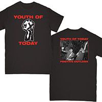 Youth Of Today- Fist on front, Positive Outlook on back on a black shirt