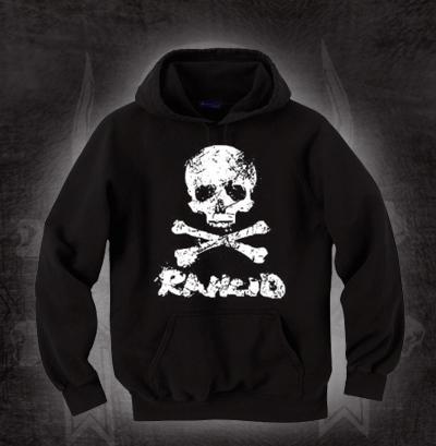 Rancid- Skull & Crossbones on a black hooded sweatshirt