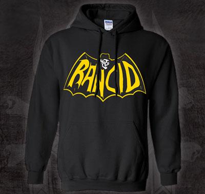 Rancid- Batman Logo on a black hooded sweatshirt