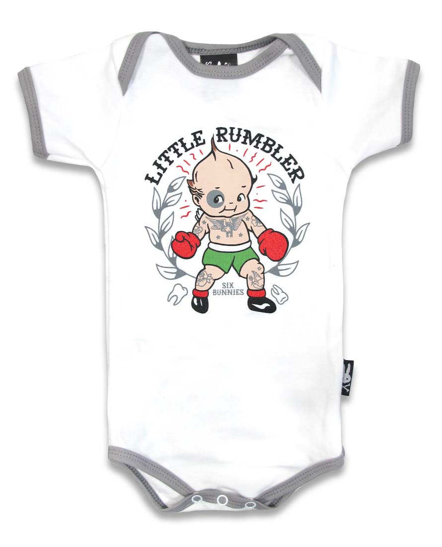 Little Rumbler Kewpie Onesie by Six Bunnies (S:0-3m, M:3-6m, L:6-12m)