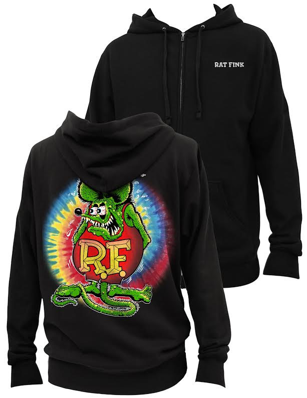 Rat Fink Womens Zip Up Hoodie by Steady Clothing - on black - SALE