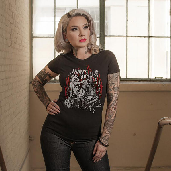 Man's Ruin Womens Shirt by Steady Clothing - on black - SALE