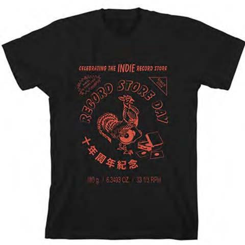 Record Store Day (Sriracha) on a black ringspun cotton shirt (Record Store Day 2017)
