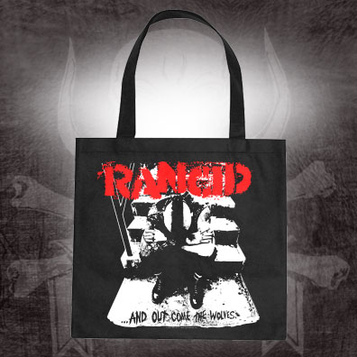 Rancid- And Out Come The Wolves on a black tote bag