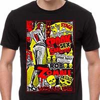 Rob Zombie- Spook Show on a black ringspun cotton shirt