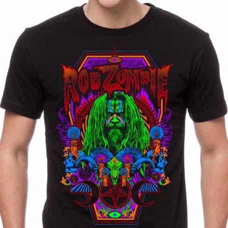 Rob Zombie- Necro Color on a black ringspun cotton shirt
