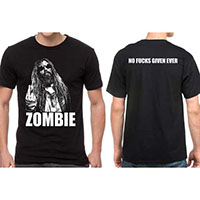 Rob Zombie- Finger on front, No Fucks Given on back on a black shirt