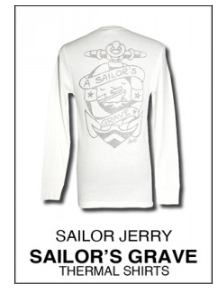 A Sailor's Grave Long Sleeve Thermal Shirt by Sailor Jerry - in Cream - sz XL only - SALE