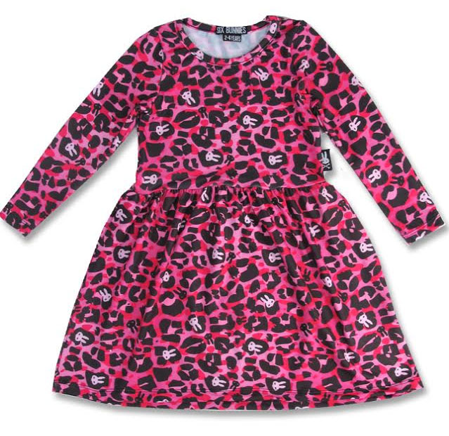 Long Sleeve Pink Leopard Bunnies Dress by Six Bunnies - 4T - SALE
