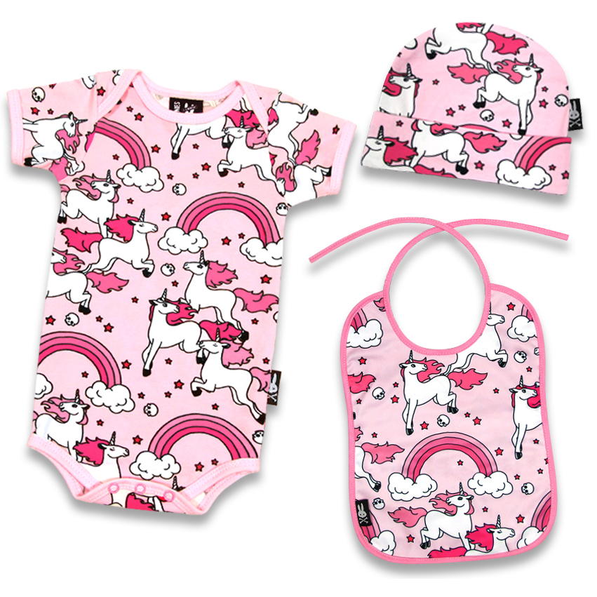 Pink Rainbows Gift Set by Six Bunnies (S:0-3m, M:3-6m, L:6-12m) - SALE sz S only