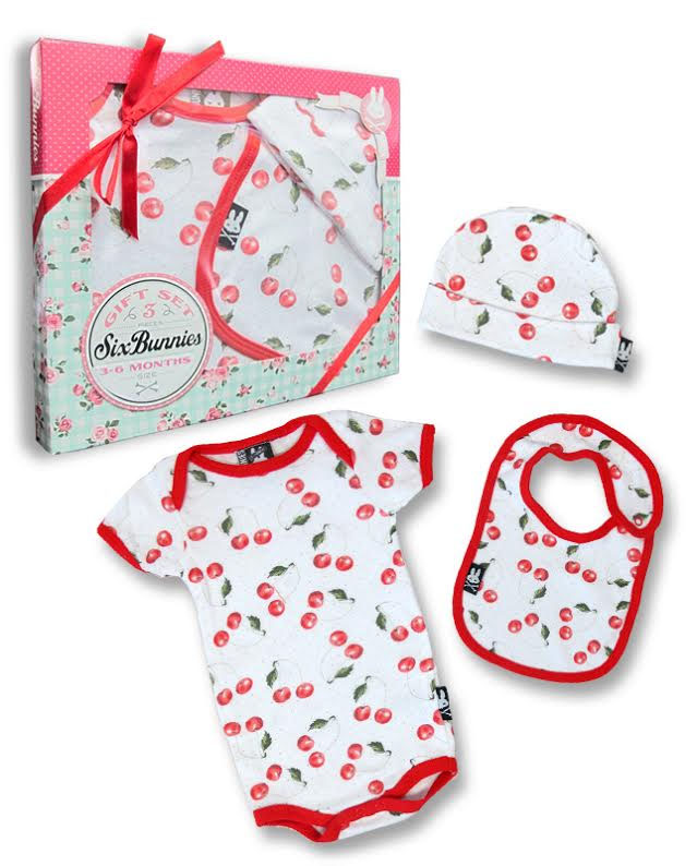 Cherries Gift Set by Six Bunnies (S:0-3m, M:3-6m, L:6-12m) - SALE