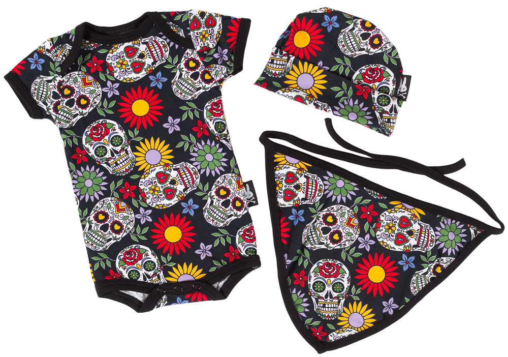 Sugar Skulls Gift Set by Six Bunnies (S:0-3m, M:3-6m, L:6-12m)