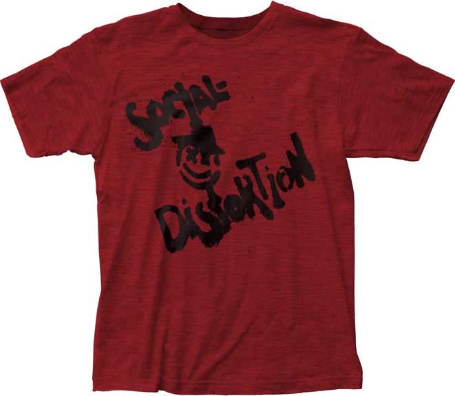 Social Distortion- Logo & Face on a cherry red ringspun cotton shirt