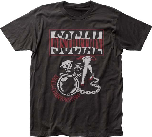 Social Distortion- Ball & Chain Tour 1990 on front, Dates on back on a coal ringspun cotton shirt