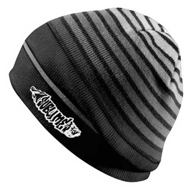 Sublime- Logo embroidered on a black & grey striped beanie
