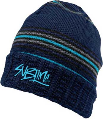 Sublime- Logo embroidered on a blue striped beanie