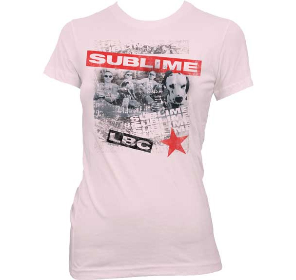 Sublime- Band & Dog on a light pink girls shirt