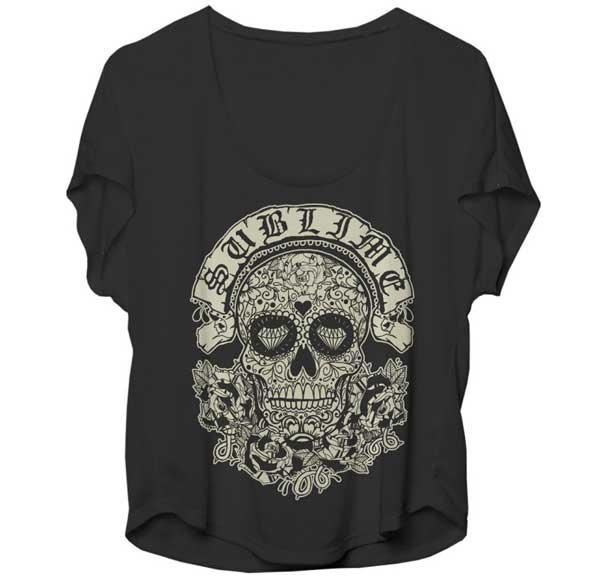 Sublime- Sugar Skull black girls dolman shirt