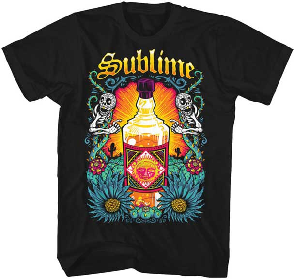 Sublime- Sun Bottle & Skeletons on a black ringspun cotton shirt