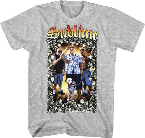 Sublime- Band Pic on a heather grey ringspun cotton shirt