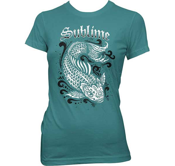 Sublime- Koi on a teal girls shirt