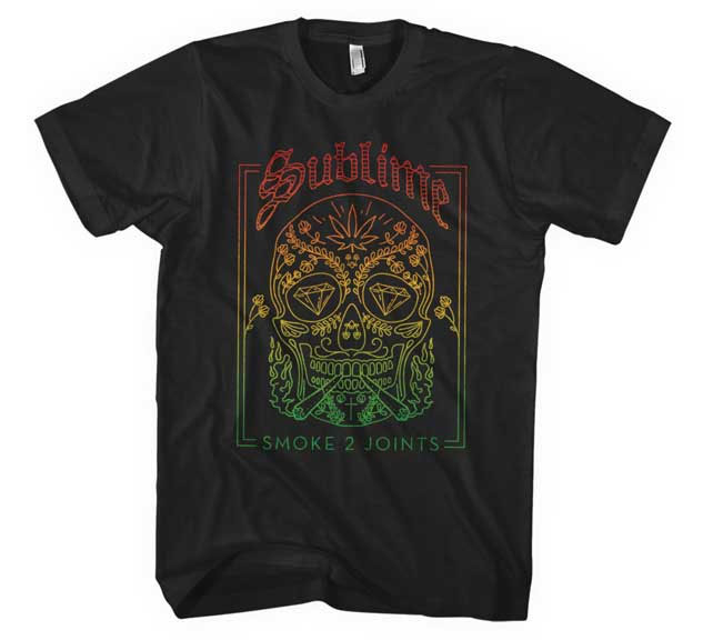 Sublime- Smoke 2 Joints (Sugar Skull) on a black ringspun cotton shirt