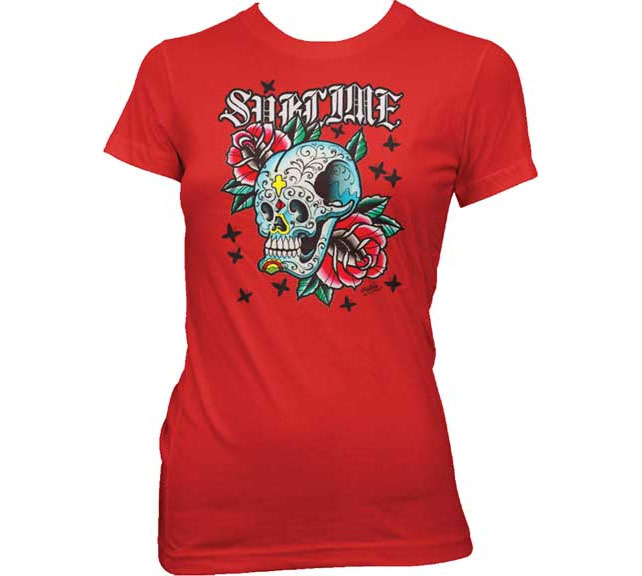 Sublime- Skull & Roses on a red girls shirt