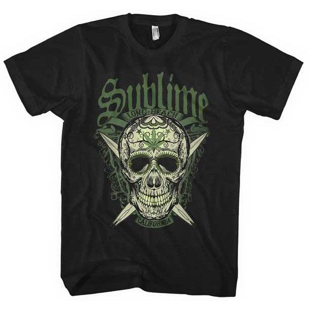 Sublime- LBC Sugar Skull & Green logo on a black ringspun cotton shirt