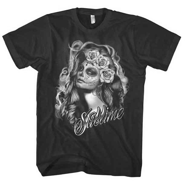 Sublime- Girl With Sugar Skull Face on a black ringspun cotton shirt
