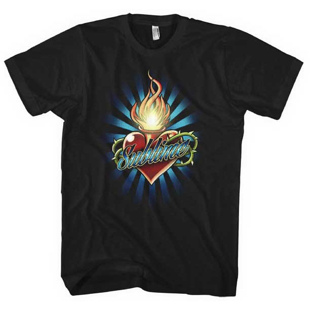 Sublime- Torched Heart on a black girls shirt