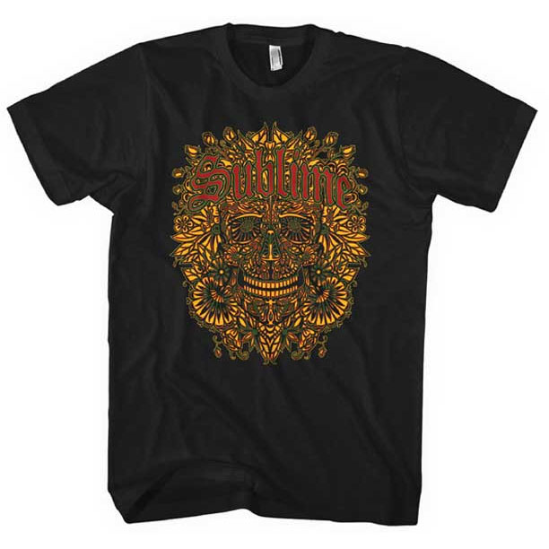 Sublime- Sugar Skull With Flowers & Red Logo on a black ringspun cotton shirt